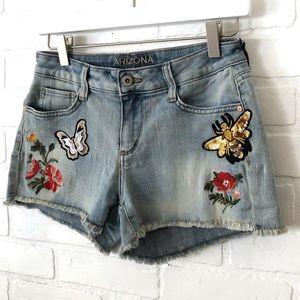 Arizona Jeans Cutoff Denim Shorts Patches Boho